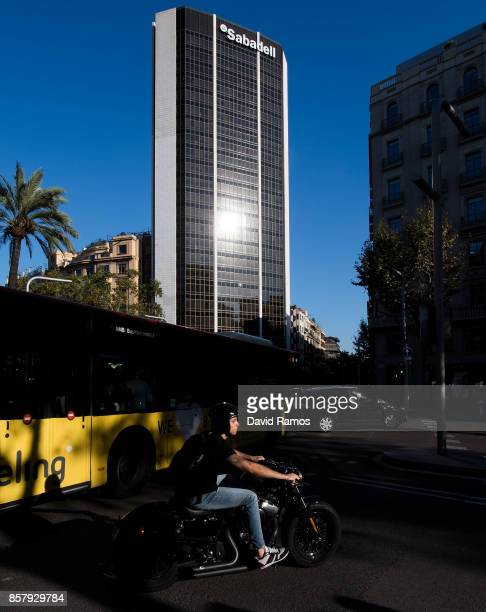 The corporate headquarter of the Spain's Banco de Sabadell is seen on October 5 2017 in Barcelona Spain The board of Spain's Banco de Sabadell SA met...