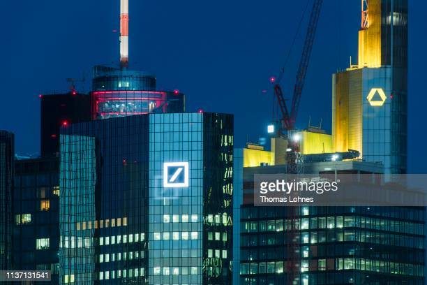 The corporate headquarters of Deutsche Bank and Commerzbank in the financial district on March 20 2019 in Frankfurt Germany The two banks are...