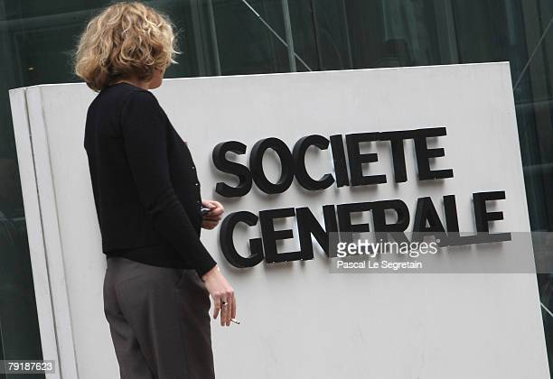 The corporate logo of Societe Generale Bank is pictured at the bank's headquarters on January 24 2008 in La Defense Fraud by a single trader had...