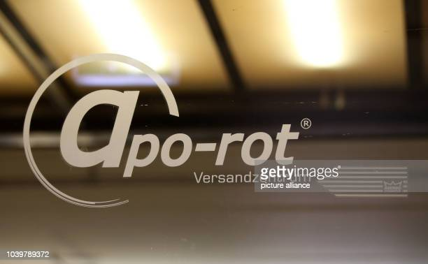 The corporate logo of the mailorder pharmarcy aporot seen at its logistics centre in Hamburg Germany 21 April 2017 Photo Bodo Marks/dpa | usage...