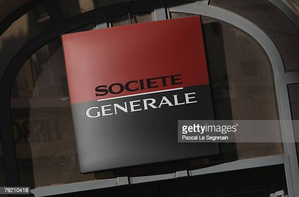 The corporate logo of the Societe Generale bank is pictured on January 25 2008 in Paris France