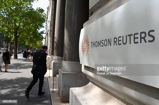 The corporate logo of Thomson Reuters is seen on May 5, 2014 in Paris, France.
