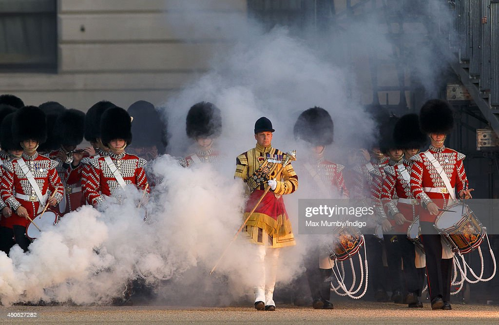The Corps of Drums perform in the Household Division's Beating Retreat, watched by Prince William, Duke of Cambridge on Horse Guards Parade on June 12, 2014 in London, England.