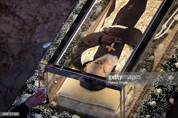 The corpse and relics of Padre Pio are displayed in St Peter's Basilica for veneration by the faithful in connection with the ongoing Extraordinary...