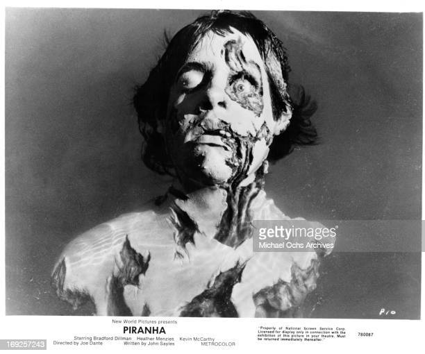 The corpse of a man underwater in a scene from the film 'Piranha' 1978