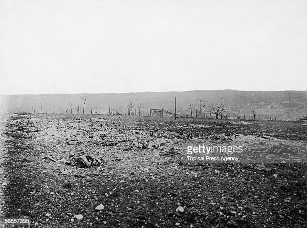 The corpses of German soldiers litter the battlefield during the offensive on the Somme World War I 10th October 1916