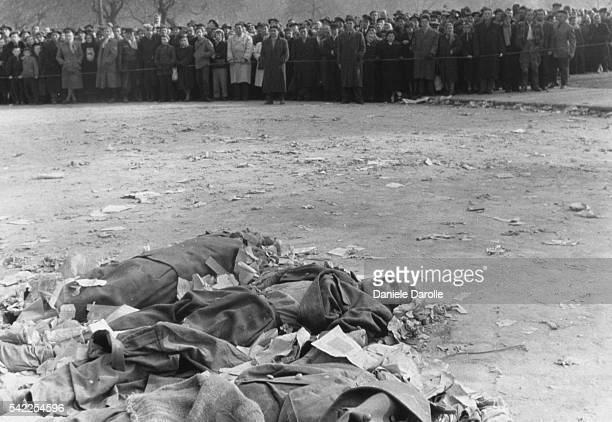 The corpses of victims of the 1956 Hungarian Insurrection lie in the streets of Budapest