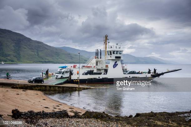 The Corran Ferry, one of the Calmac Caledonian MacBrayne ferries) at Ardgour in Loch Linnhe south of Fort William, Scottish Highlands.