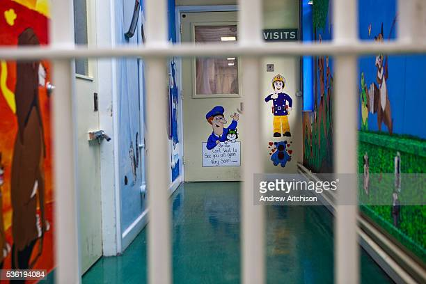 The corridor that visitors to the prison go down to enter the fmily visiting room HMP Holloway the main womens prison in London HM Prison Holloway is...