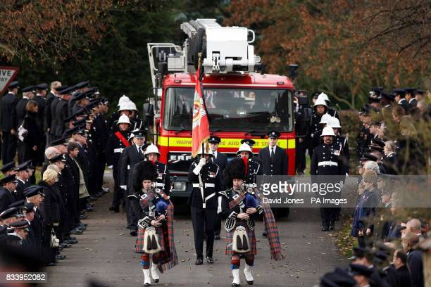 The cortege arrives at St Gregory Church Tredington for the funeral John Averis one of four firefighters who died following the blaze in a warehouse...