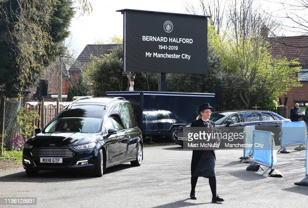 The cortege arrives at the Funeral of Manchester City Life President Bernard Halford at St Mary's Church in Manchester on April 10 2019 in Manchester...