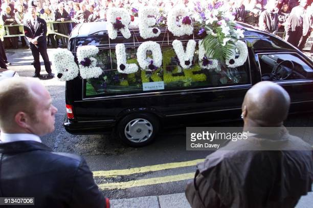 The cortege arriving at the church at Reggie Kray's funeral held at St Matthews Church Bethnal Green east London 11th October 2000