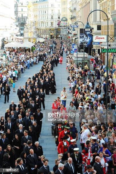 The cortege during the funeral ceremony for Otto von Habsburg in makes it's way through the downtown district on July 16 2011 in Vienna Austria Otto...