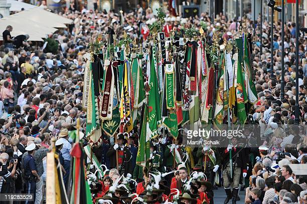 The cortege during the funeral ceremony for Otto von Habsburg make it's way through the historic downtown districts on July 16 2011 in Vienna Austria...
