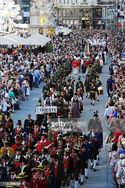 The cortege make it's way through the historic downtown districts during the funeral ceremony for Otto von Habsburg on July 16 2011 in Vienna Austria...