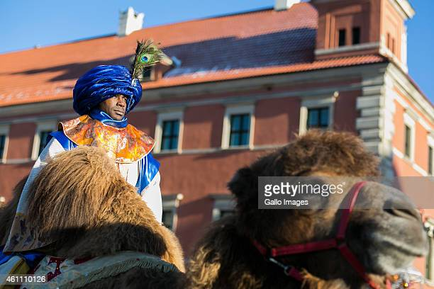 The Cortege of the Three Kings makes it way through the streets starting from Sigismund's Column on January 6 2014 in Warsaw Poland This is the...