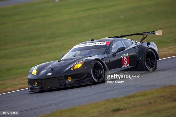 The Corvette C7R of Antonio Garcia and Jan Magnussen races on the track during IMSA testing at Daytona INternational Speedway on November 18 2015 in...