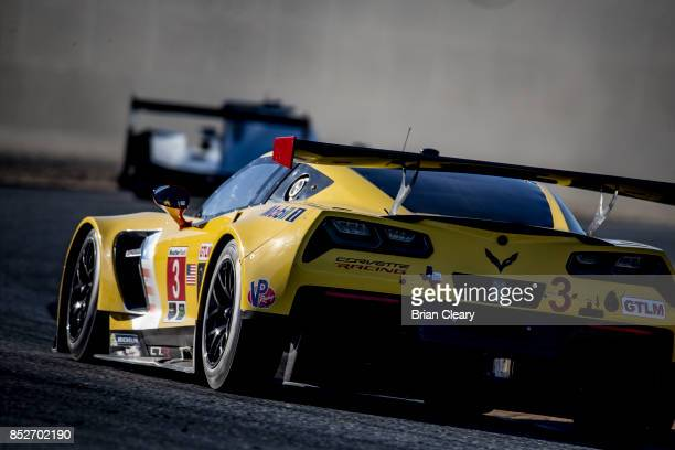The Corvette C7R of Jan Magnussen of Denmark and Antonio Garcia of Spain races on the track during practice for the IMSA WeatherTech Sportscar Series...