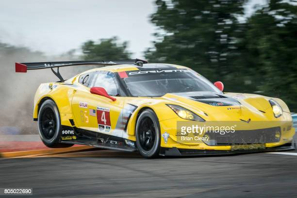 The Corvette C7R of Oliver Gavin of Great Britain and Tommy Milner drives off the side of the track during practice for the Sahlen's Six Hours of the...