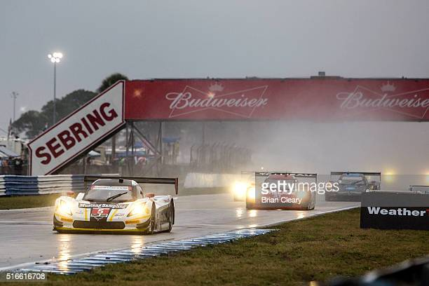 The Corvette DP of Joao Barbosa Christian Fittipaldi and Felipe Albuquerque makes pit stop during the 12 Hours of Sebring IMSA WeatherTech Series...