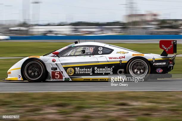 The Corvette DP of Joao Barbosa Christian Fittipaldi Scott Pruett and Felipe Albuquerque drives on the track during the Roar Before the 24 IMSA...