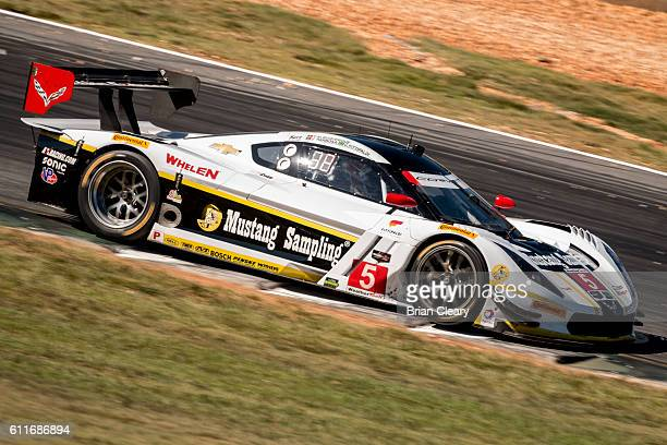 The Corvette DP of Joao Barbosa of Portugal Christian Fittipaldi of Brazil and Filipe Albuquerque of Portugal drives on the track during practice for...