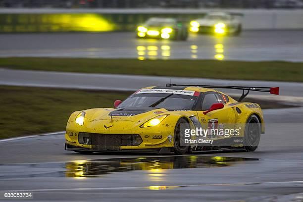 The Corvette of Antonio Garcia Jan Magnussen and Mike Rockenfeller races on thre track during the 24 Hours of Daytona at Daytona International...