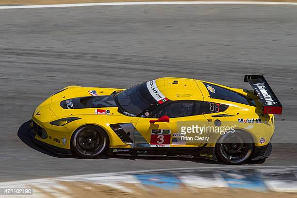 The Corvette of Jan Magnussen and Antonio Garcia is shown in action during the IMSA Tudor Series Race at Mazda Raceway Laguna Seca on May 3 2015 in...