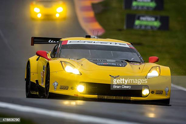 The Corvette of Jan Magnussen of Denmark and Antonio Garcia of Spain races in the rain during practice for the Sahlen's Six Hours of the Glen at...
