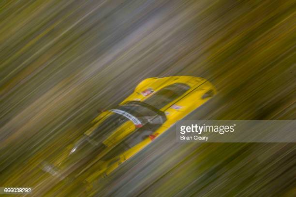 The Corvette of Jan Magnussen of Denmark and Antonio Garcia of Spain races under some trees during practice for the IMSA WeatherTech Series race at...