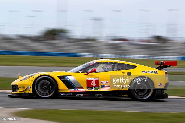The Corvette of Oliver Gavin Tommy Milner and Marcel Fassler drives on the track during the Roar Before the 24 IMSA WeatherTech Series testing at...