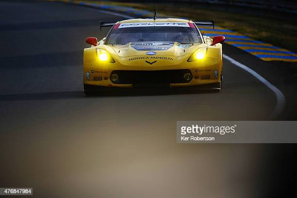 The Corvette Racing C7R of Jan Magnussen Antonio Garcia and Ryan Briscoe drives during qualifying for the Le Mans 24 Hour race at the Circuit de la...