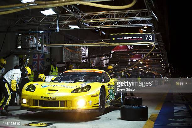The Corvette Racing Chevrolet Corvette C6 ZR1 driven by Antonio Garcia of Spain Jan Magnussen of Denmark and Jordan Taylor of America makes a pit...