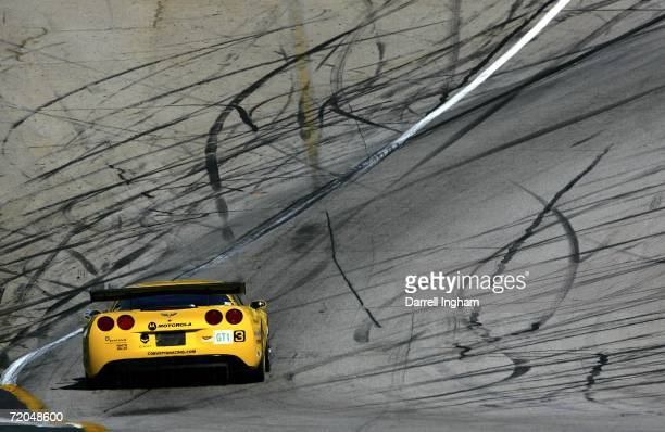 The Corvette Racing Chevrolet Corvette C6-R driven by Johnny O'Connell during practice for the American Le Mans Series Petit Le Mans at Road Atlanta...