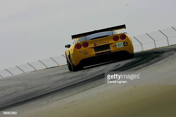 The Corvette Racing Chevrolet Corvette C6R driven by Oliver Gavin and Olivier Beretta during the American Le Mans Series Generac 500 on August 11...