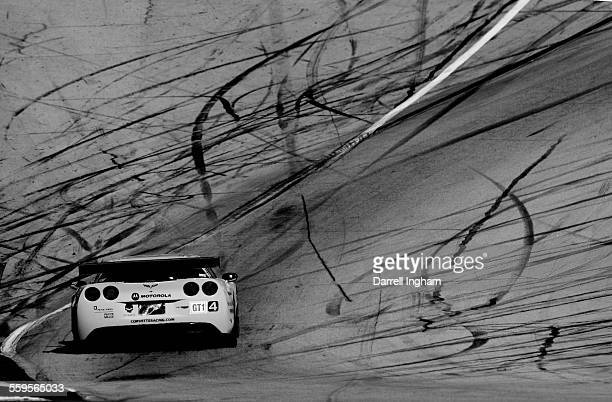 The Corvette Racing Chevrolet Corvette C6-R driven by Oliver Gavin, Olivier Beretta and Jan Magnussen during practice for the American Le Mans Series...