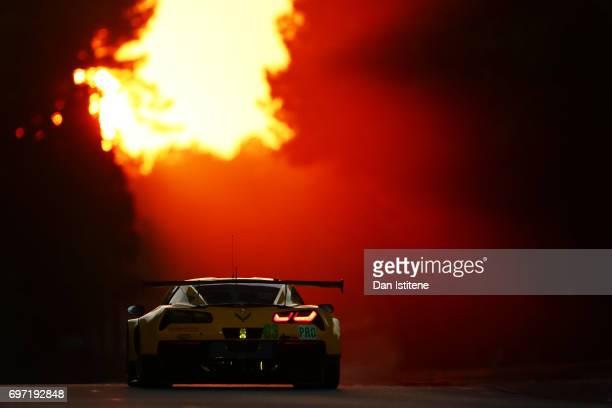 The Corvette Racing Chevrolet Corvette of Antonio Garcia Jan Magnussen and Jordan Taylor drives during the Le Mans 24 Hour Race at Circuit de la...