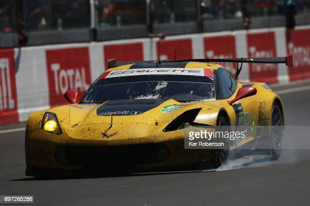 The Corvette Racing Chevrolet Corvette of Antonio Garcia Jan Magnussen and Jordan Taylor suffers a puncture at the end of the Le Mans 24 Hours race...