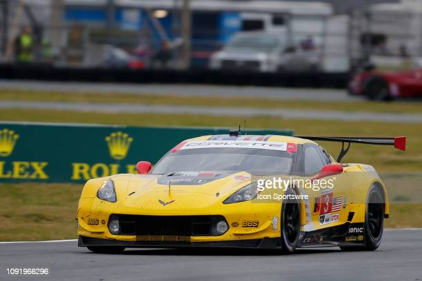 The Corvette Racing Corvette C7R of Jan Magnussen Antonio Garcia and Mike Rockenfeller during the Rolex 24 at Daytona on January 26 2019 at Daytona...