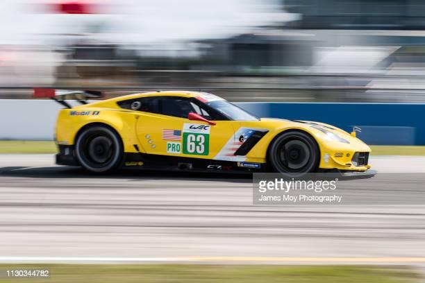 The Corvette Racing GM Chevrolet Corvette of Jan Magnussen Antonio Garcia and Mike Rockenfeller in action on March 13 2019 in Sebring Florida