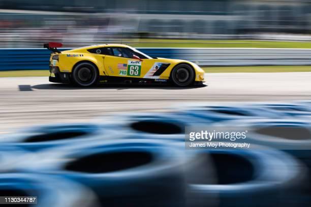 The Corvette Racing GM Chevrolet Corvette of Jan Magnussen Antonio Garcia and Mike Rockenfeller on March 13 2019 in Sebring Florida