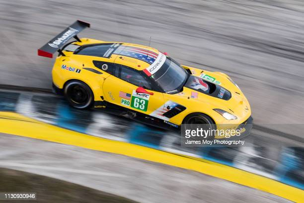 The Corvette Racing GM Chevrolet Corvette of Jan Magnussen Antonio Garcia and Mike Rockenfeller in action during the race on March 15 2019 in Sebring...