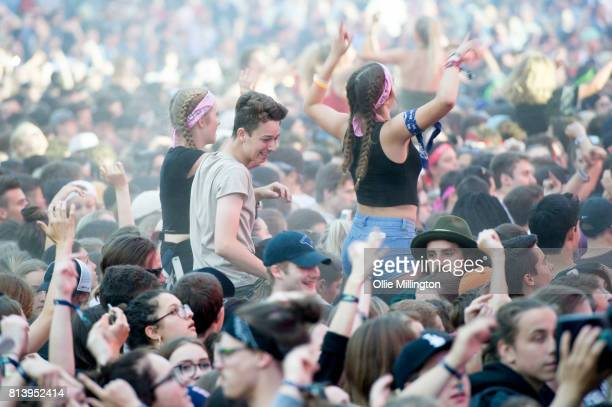 The corwd watching DVBBS performing during Day 7 of the 50th Festival D'ete De Quebec on the Main Stage at the Plaines D' Abraham on July 12 2017 in...