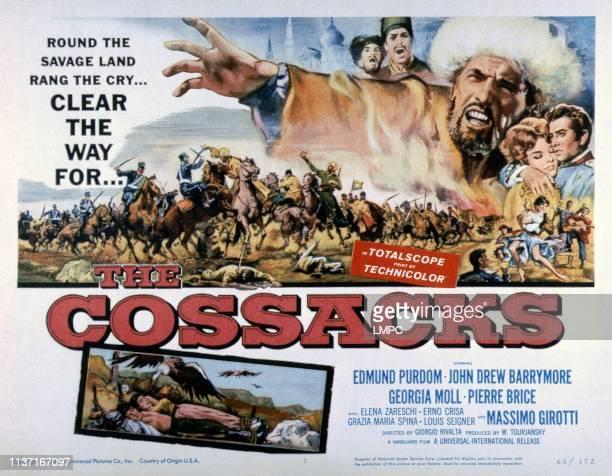 The Cossacks, lobbycard, top right: Erno Crisa, Edmund Purdom, Giorgia Mol1, John Drew Barrymore, 1960.