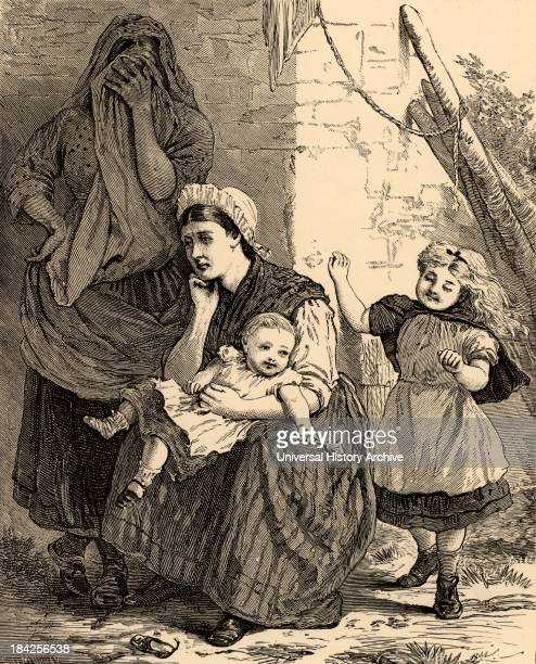 The Cost of Coal' A miner's wife and a female companion mourning the loss of her husband while the two children play happily oblivious of the tragedy...