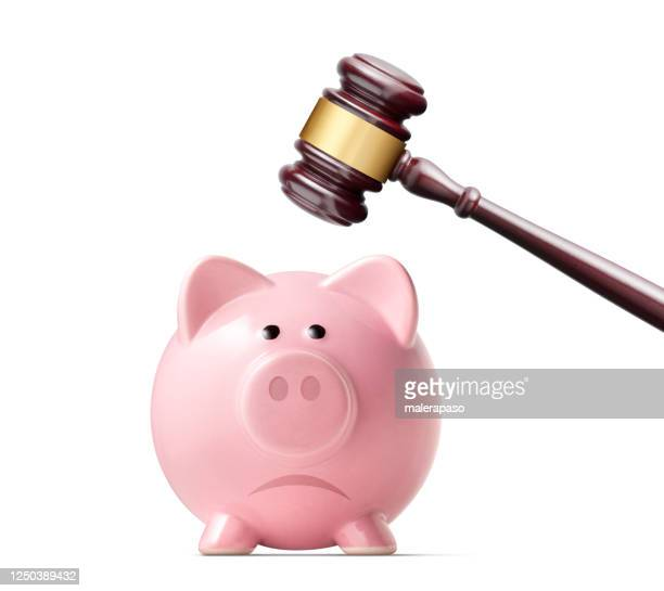 the cost of justice. broken piggy bank by judge gavel. - bail law stock pictures, royalty-free photos & images