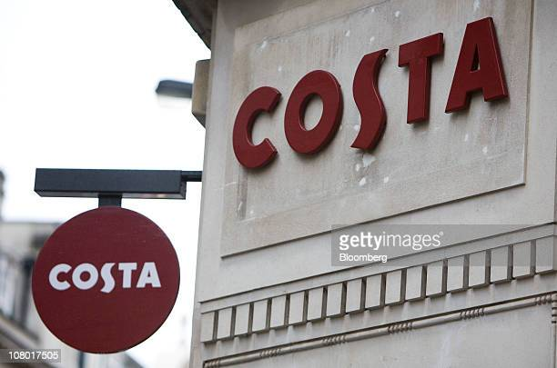 The Costa brand logo is displayed outside a 'Metropolitan' Costa Coffee shop in London UK on Wednesday Jan 12 2011 Whitbread Plc may be considering...