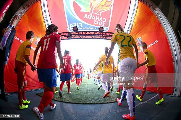 The Costa Rica and Brazil take to the field prior to the FIFA Women's World Cup 2015 Group E match between Costa Rica and Brazil at Moncton Stadium...