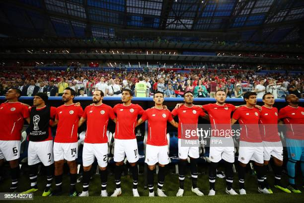 The Costa Rica bench sing the national anthem prior to the 2018 FIFA World Cup Russia group E match between Switzerland and Costa Rica at Nizhny...