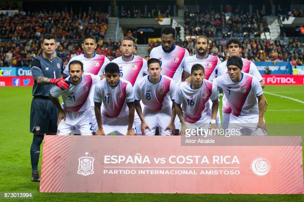 The Costa Rica line up for a team photo prior to the international friendly match between Spain and Costa Rica at La Rosaleda Stadium on November 11...